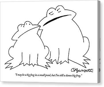 Saying Canvas Print -  A Big Frog Talks To A Smaller Frog by Charles Barsotti
