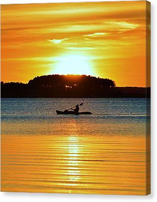 A Reason To Kayak - Summer Sunset Canvas Print by William Bartholomew