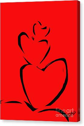 Canvas Print featuring the painting  A Stack Of Hearts by Go Van Kampen