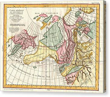 I Am Sailing Canvas Print -  A Truly Fascinating 1772 Map Of The Northwestern Parts Of North America By Robert De Vaugondy And T by Paul Fearn