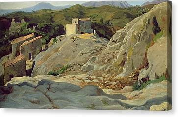 A Village In The Mountains Canvas Print