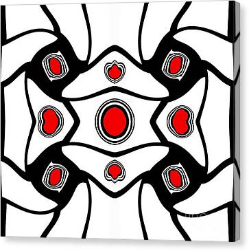 Abstract Geometric Black White Red Art No. 380. Canvas Print by Drinka Mercep
