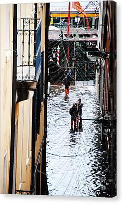 Acqua Alta At Vaporetto Canvas Print by Jacqueline M Lewis