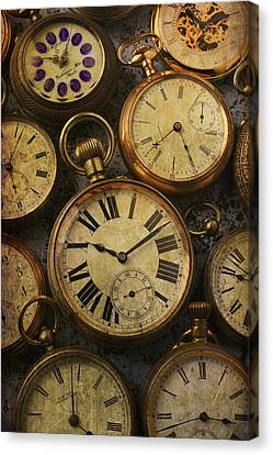 Aged Pocket Watches Canvas Print by Garry Gay