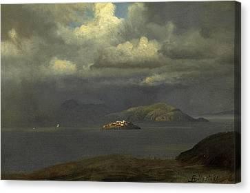 Alcatraz Canvas Print -  Alcatraz San Francisco Bay by Albert Bierstadt