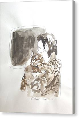 Aliya With Cat Canvas Print by Esther Newman-Cohen