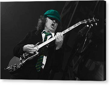 Angus Young At The Tacoma Dome In Tacoma Canvas Print by Don Kuing