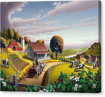 Country Scene Canvas Print -  Appalachian Blackberry Patch Rustic Country Farm Folk Art Landscape - Rural Americana - Peaceful by Walt Curlee