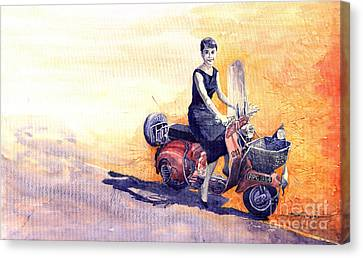 Audrey Hepburn And Vespa In Roma Holidey  Canvas Print by Yuriy  Shevchuk