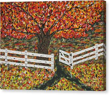 Autumn At The White Fence Farm Canvas Print by Jeffrey Koss