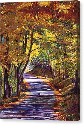 Autumn Leaf Canvas Print -  Autumn Road by David Lloyd Glover