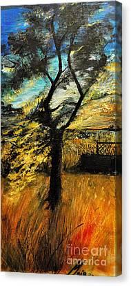 Canvas Print featuring the painting  Autumn Tree by Maja Sokolowska
