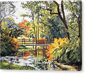 Autumn Water Bridge Canvas Print by David Lloyd Glover