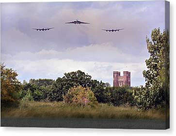 Avro Trio Over Tattershall Castle Canvas Print