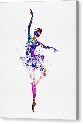 Ballerina Dancing Watercolor 2 Canvas Print by Naxart Studio