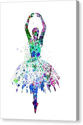 Ballerina Dancing Watercolor 4 Canvas Print by Naxart Studio