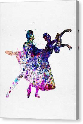 Ballerinas Canvas Print -  Ballet Dancers Watercolor 1 by Naxart Studio