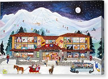 Banff International Hotel Alberta Canada Canvas Print by Virginia Ann Hemingson