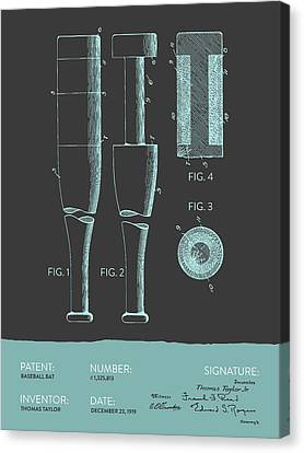 Baseball Bat Patent From 1919 - Gray Blue Canvas Print by Aged Pixel