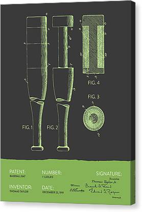 Baseball Bat Patent From 1919 - Gray Green Canvas Print by Aged Pixel