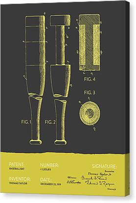 Baseball Bat Patent From 1919 - Gray Yellow Canvas Print by Aged Pixel