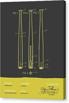 Baseball Bat Patent From 1924 - Gray Yellow Canvas Print by Aged Pixel