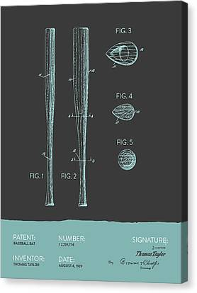 Baseball Bat Patent From 1939 - Gray Blue Canvas Print by Aged Pixel