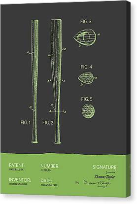 Baseball Bat Patent From 1939 - Gray Green Canvas Print by Aged Pixel