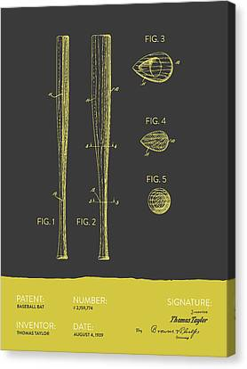 Baseball Bat Patent From 1939 - Gray Yellow Canvas Print by Aged Pixel