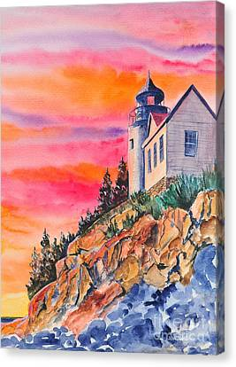 Bass Harbor Light Sunset Canvas Print