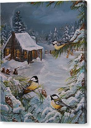 Woodpile Canvas Print -  Black Capped   Chickadee's  by Sharon Duguay