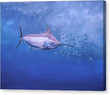 Canvas Print featuring the painting  Black Marlin by Noe Peralez
