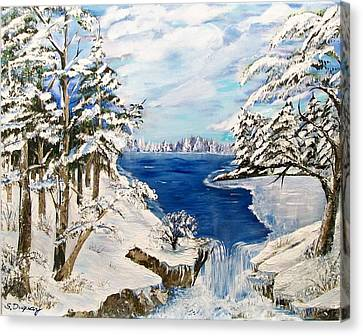 Canvas Print featuring the painting  Blanket Of Ice by Sharon Duguay