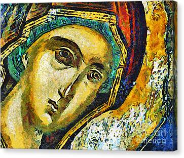 Blessed Virgin Mary - Painting Canvas Print by Daliana Pacuraru