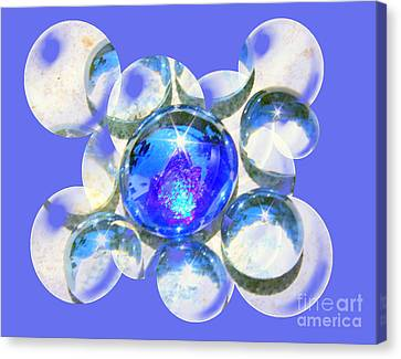 Blue Glass Bubble Abstract Canvas Print by Judy Palkimas