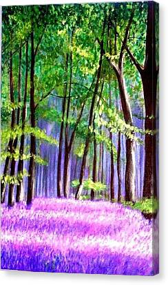 Canvas Print featuring the painting  Bluebells Wood  by Marie-Line Vasseur