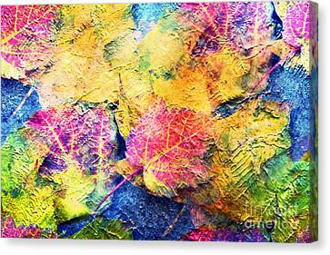 Bright- Colorful Fall Leave Abstract Canvas Print by Judy Palkimas