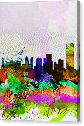 Buffalo Watercolor Skyline Canvas Print by Naxart Studio