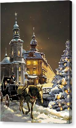 Horse And Buggy Canvas Print -  Buggy And Horse At Christmasn The Ukraine by Regina Femrite