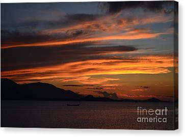 Canvas Print featuring the photograph  Burning Sky by Michelle Meenawong