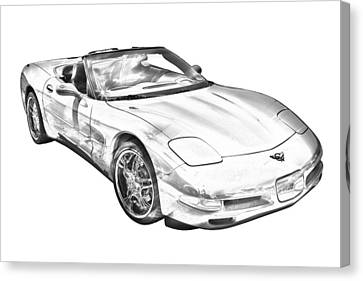 C5 Corvette Convertible Muscle Car Illustration Canvas Print by Keith Webber Jr