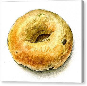 Cafe Steve's Jalapeno Cheddar Bagel Canvas Print by Logan Parsons