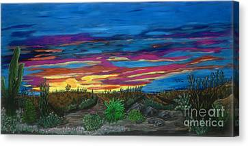 Canvas Print featuring the painting  California Desert Sunset by Gary Brandes