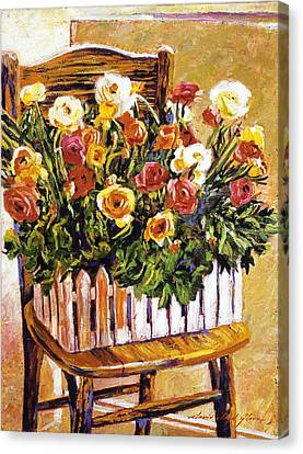 Interior Still Life Canvas Print -  Chair Of Flowers by David Lloyd Glover