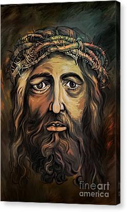 Christ With Thorn Crown. Canvas Print by Andrzej Szczerski