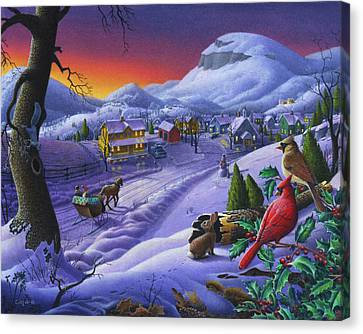 Cardinal Canvas Print -  Christmas Sleigh Ride Winter Landscape Oil Painting - Cardinals Country Farm - Small Town Folk Art by Walt Curlee