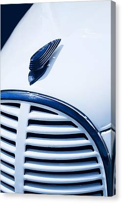 Classic White And Blue Ford Pickup Hood Ornament Canvas Print