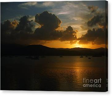 Canvas Print featuring the photograph  Cloudy Sunset by Michelle Meenawong