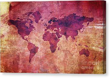 Canvas Print featuring the digital art  Colorful World Map by Mohamed Elkhamisy