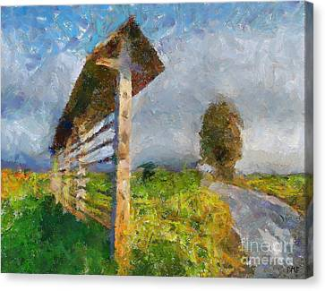 Country Road With Hayrack Canvas Print by Dragica  Micki Fortuna